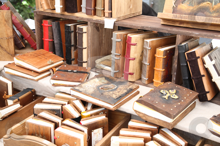 Antique books stock photo, Antique wooden books with wooden covers by Laurent Renault