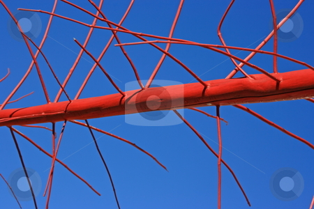 Red-blue abstract stock photo, A trunk colored in red with a blue sky on the background. Abstract architectural design. by Natalia Macheda
