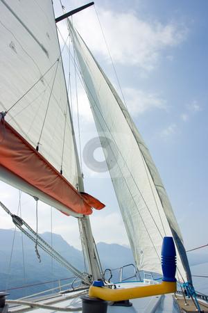 Sailing on Garda lake stock photo, Being exactly ander mast, sail and ropes by Natalia Macheda