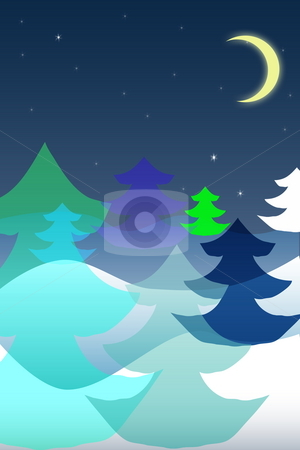 Season winter stock photo, Photoshop-rendered christmas illustration of winter forest with different colorful fir-trees under the moon. by Natalia Macheda