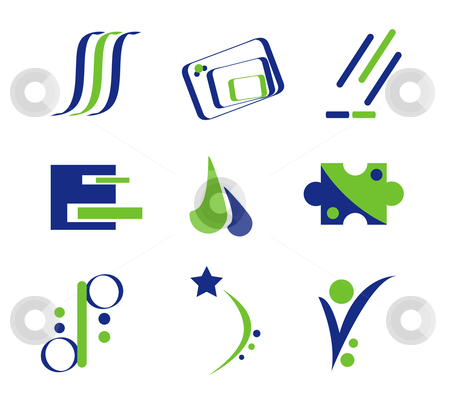 Blue And Green Logo Elements Stock Vector