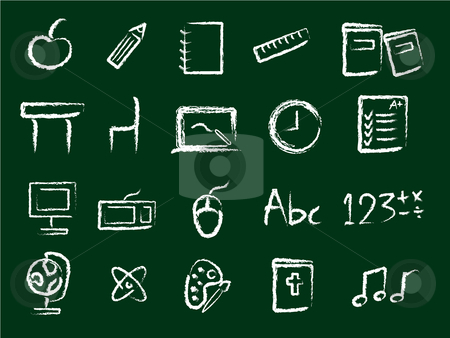 Education Icons stock vector clipart, School and Education Icons in Chalk style by Stephanie Soon