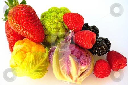 Vegetables, Blackberry, Raspberry and Strawberries  stock photo, Isolated Vegetables, Blackberry, Raspberry and Strawberries on a white background. by Lynn Bendickson