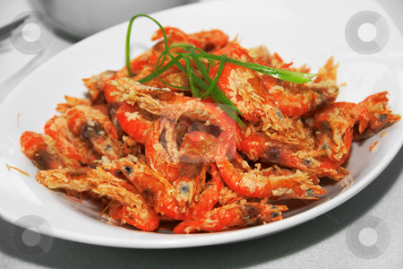 Crispy shrimp stock photo, Deep fried crispy shrimp served in a dish by Jonas Marcos San Luis