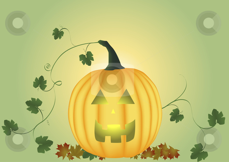 Carved pumpkin background stock vector clipart, Carved pumpkin with leaves and vine by John Teeter