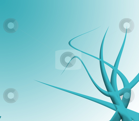 Tentacles stock photo, Art illustration of chaotically twisted turquoise tentacles by Natalia Macheda