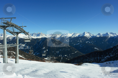 Ski elevator stock photo, Start of ski trace with wonderful view Dolomites chine by Natalia Macheda