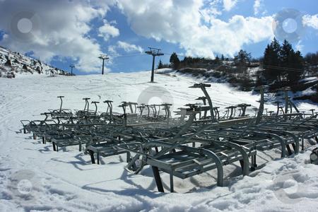 Ski season finished stock photo, Ski season is finished, ski elevators are arrested and taken to pieces by Natalia Macheda