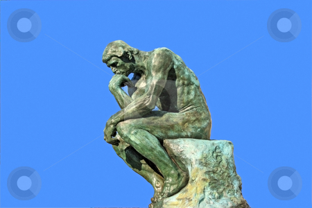 Thinker stock photo, Copy of Thinker by Auguste Rodin in Saint Paul (Southern France), isolated over blue by Natalia Macheda