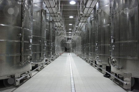 Wine cisterns stock photo, Rows of huge cisterns for sparkling wine by Natalia Macheda