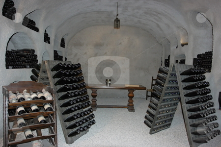 Winecellar stock photo, Winecellar with collection bottles of sparkling wine by Natalia Macheda