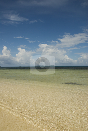 Calm lagoon stock photo, Calm Truk Lagoon waters with islands in the distance by A Cotton Photo