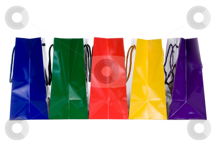 Colorful Shopping Bags stock photo, Colorful Shopping Bags on white by Vince Clements
