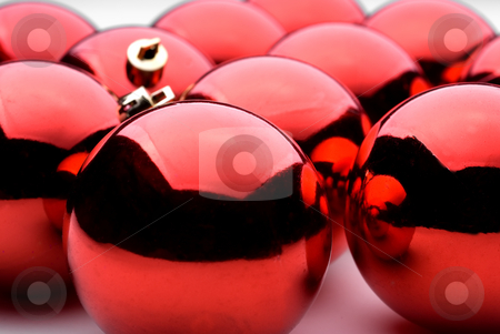 Red Holiday decorations stock photo, Red holiday balls by Vince Clements