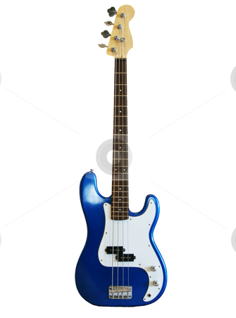 Blue bass stock photo, A blue jazz bass on a white background by Sam Sapp