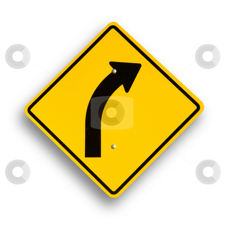 Traffic sign isolated on white stock photo, Curve sign isolated on white, clipping path excludes shadow. by Pablo Caridad