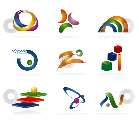 3D Logo Elements stock vector clipart, Logo and Design Elements in 3D by Stephanie Soon