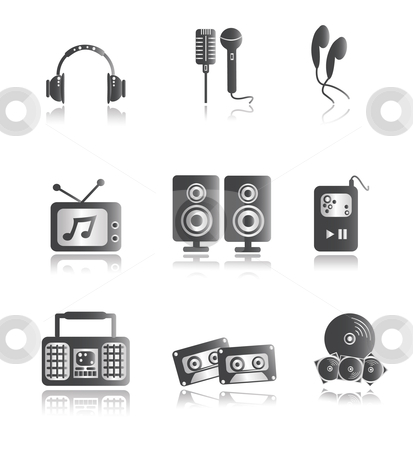 Silver Music Icons stock vector clipart, Icon illustration of music items in silver by Stephanie Soon
