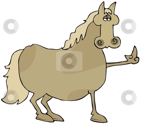 Bird Horse stock photo, This illustration depicts a horse flipping the bird. by Dennis Cox