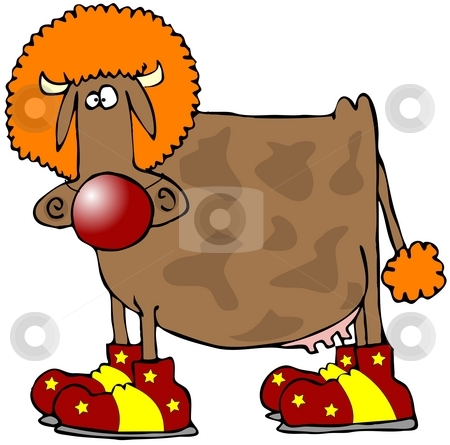 Cow Clown stock photo, This illustration depicts a cow wearing a clowns shoes, wig and nose. by Dennis Cox