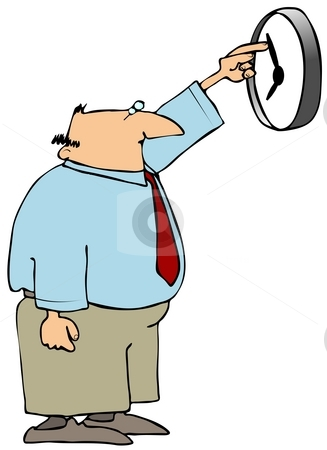 Changing Time stock photo, This illustration depicts a man changing the hands on a wall clock. by Dennis Cox