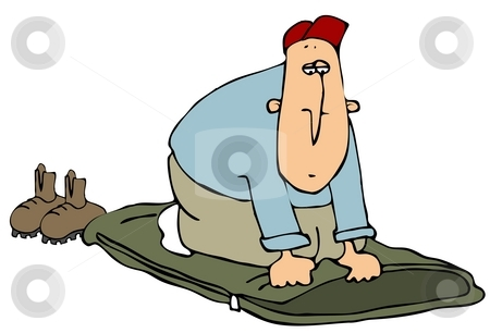 Man On A Sleeping Bag stock photo, This illustration depicts a man kneeling on a sleeping bag. by Dennis Cox