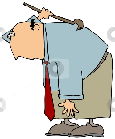 Back Scratcher stock photo, This illustration depicts a business man scratching his back. by Dennis Cox