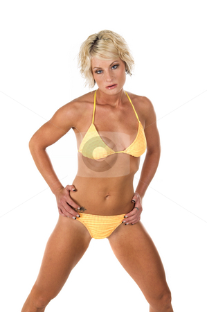 Blond in Yellow Bikini stock photo, Sexy blond swim wear model in a yellow bikini by Robert Deal