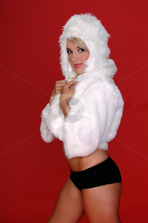 Furry Snow Bunny stock photo, Sexy blond snow bunny burrows into her white furry coat and hat and black hot pants over a red background by Robert Deal