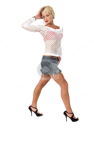 Blond Fashion Model stock photo, Sexy young blond in a denim mini skirt, white mesh top in a classic full body fashion pose by Robert Deal