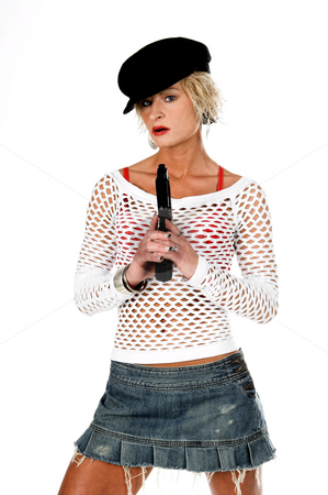 Fashion Diva Gangster stock photo, Sexy OC blonde fashion diva in a denim skirt, net top and red bra with a 45 caliber handgun.  Selective depth of field isolated over white. by Robert Deal