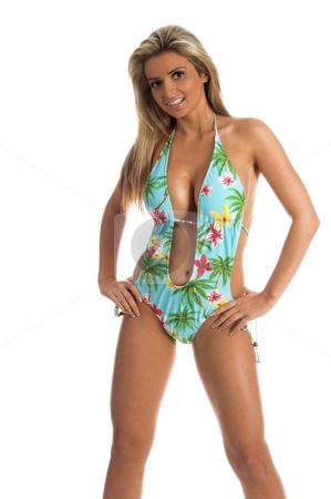 Sexy Monokini stock photo, Sexy blond swimwear model in a deep vee cut Monokini by Robert Deal