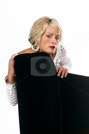 Pretty Blonde Headshot stock photo, Head shot of a pretty blonde with short hair and a nice smile leaning over a chair by Robert Deal
