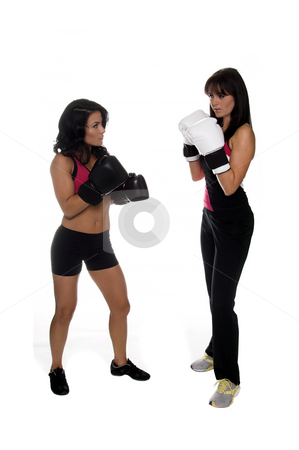 Two Girls Boxing stock photo, Two young women square off to box by Robert Deal