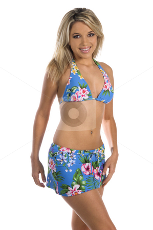 Floral Bikini stock photo, Sexy woman in a blue floral print bikini  Bikini by Swim Bay by Robert Deal
