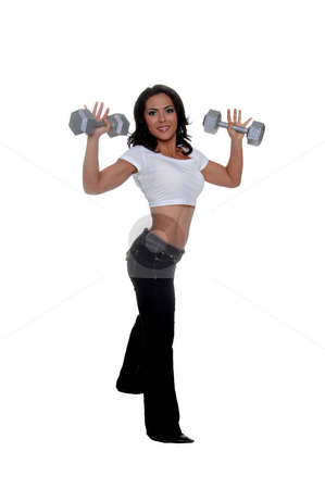 Woman Fitness Trainer stock photo, Young female personal fitness trainer holding15 pound dumbells by Robert Deal