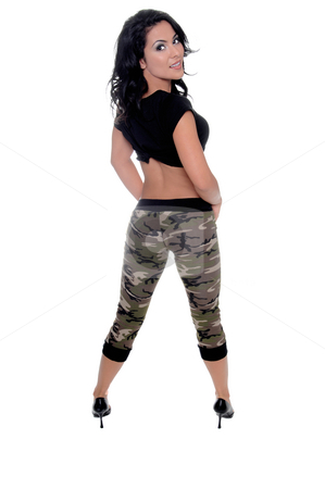 Urban Fitness Beauty stock photo, Sexy young latin fitness model in a black t-shirt and camo pattern pants looking back over her shoulder by Robert Deal