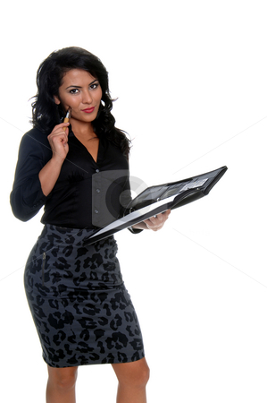Secretary stock photo, Beautiful young latina businesswoman  with a pen and a notebook by Robert Deal