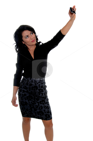 Cell Phone Self Portrait stock photo, Beautiful young latina business woman taking her own photograph with her cell phone by Robert Deal