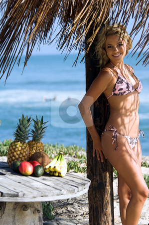 Bikini Beach Blond stock photo, Sexy blond bikini girl on the beach in a pink and brown bikini by Swimbay under a palapus umbrella with tropical fruit on the table by Robert Deal