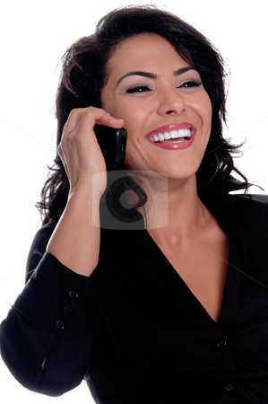 Hispanic Woman On Cell Phone stock photo, Young latina business woman talking and laughing on a cell phone by Robert Deal
