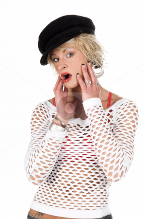 Fashion Surprise stock photo, Sexy OC blonde fashion model in a denim skirt, net top and red bra and a sporty black hat with a surprised expression.  isolated over white. by Robert Deal