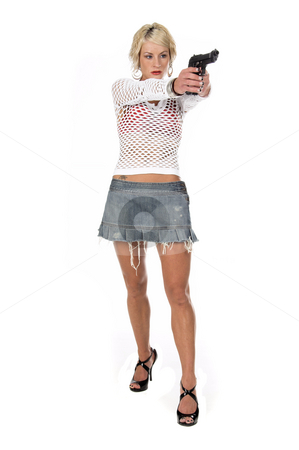 Fashion Diva Gangster stock photo, Sexy OC blonde fashion diva in a denim skirt, net top and red bra with a 45 caliber handgun pointed at the camera.  Selective depth of field isolated over white. by Robert Deal