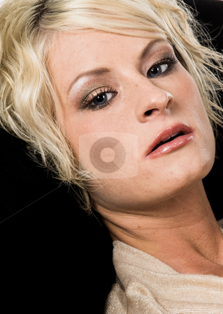 Pretty Blonde Headshot stock photo, Head shot of a pretty blonde with short hair on black velvet by Robert Deal