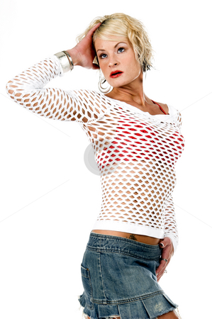 Sexy Fashion Model stock photo, Sexy young blond in a denim mini skirt, white mesh top in a classic fashion pose by Robert Deal