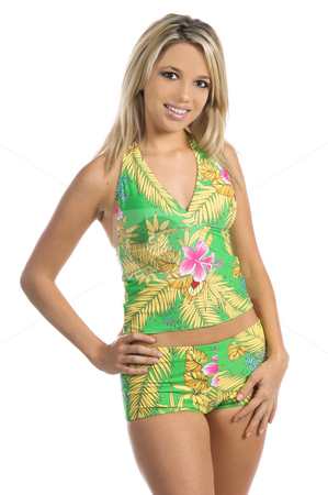 Green Tankini stock photo, Sexy woman in a green afloral print Tankini  Bikini by Swim Bay by Robert Deal