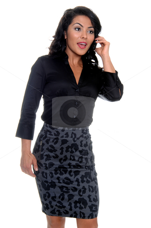 Woman On Cell Phone stock photo, Beautiful young latina business woman talking on a cell phone by Robert Deal