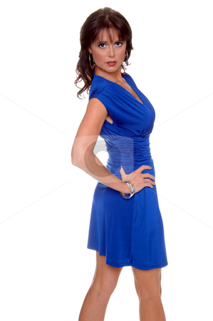 Woman in Blue Dress stock photo, Beautiful brunette in a sleek blue cocktail dress by Robert Deal