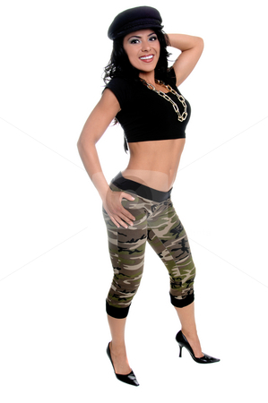 Urban Beauty stock photo, Sexy young latin woman in a black t-shirt, sailior cap, camo pattern pants and a gold log chain for a necklace by Robert Deal