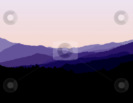 Blue Ridge Mountains Landscape stock vector clipart, Blue Ridge Mountains Landscape by Adrian Sawvel